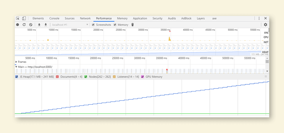 Performance recording in Chrome